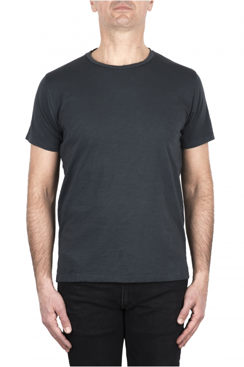 SBU 03308_2021SS T-shirt col rond en coton flammé gris plomb 01