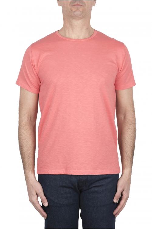 SBU 03309_2021SS Camiseta de algodón flameado con cuello redondo salmón 01