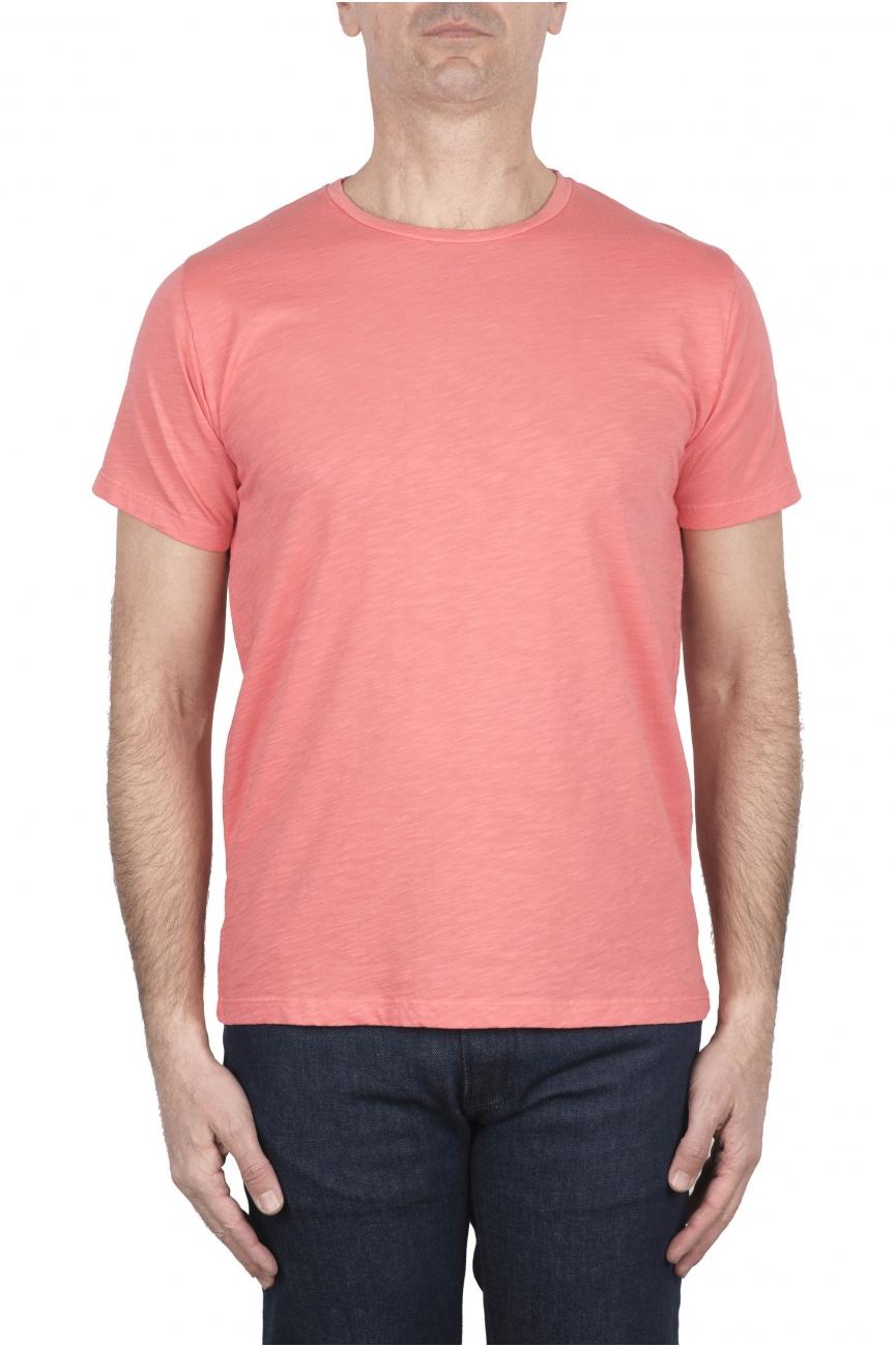 SBU 03309_2021SS Flamed cotton scoop neck salmon t-shirt 01