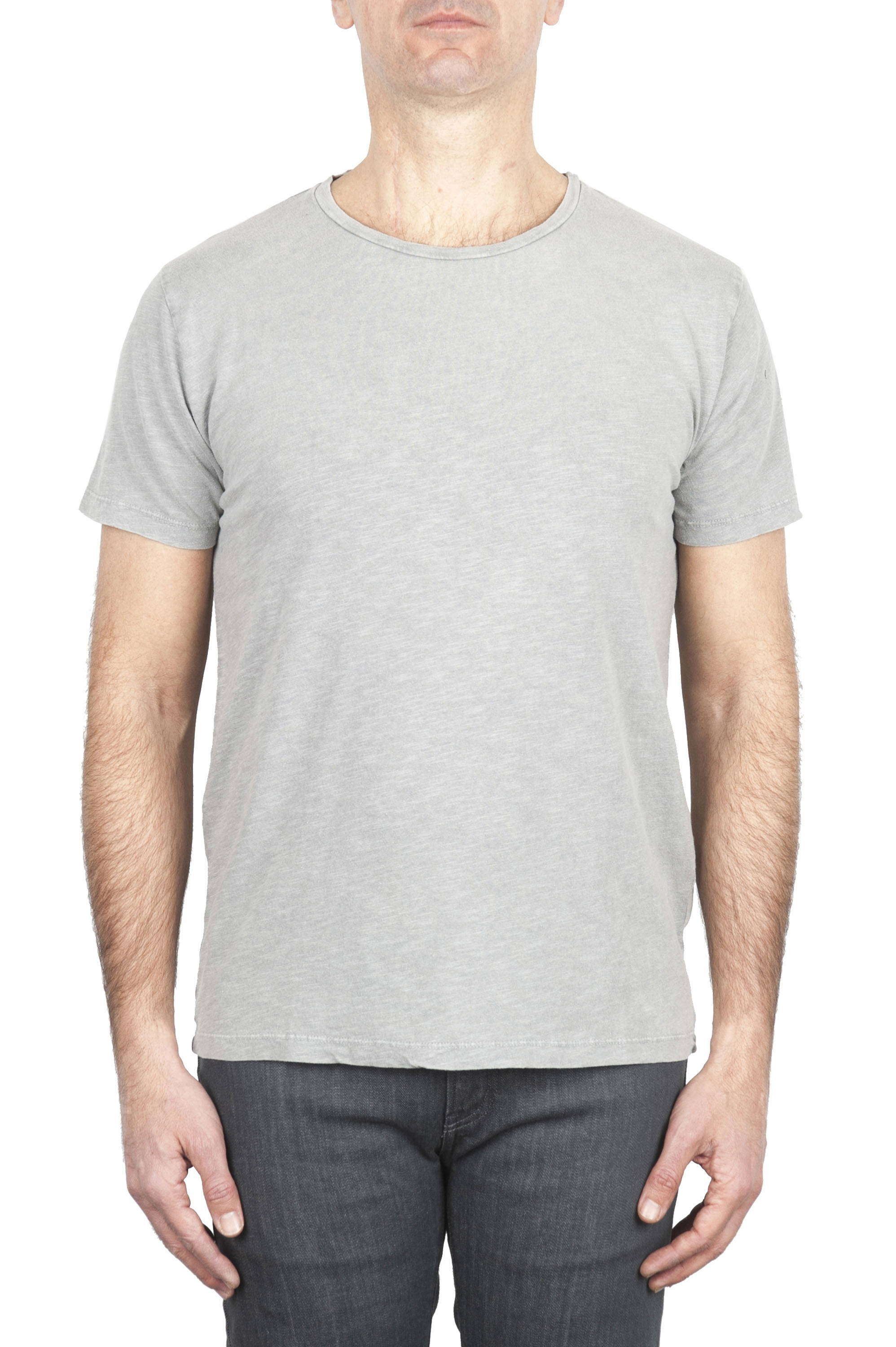 SBU 03310_2021SS Flamed cotton scoop neck t-shirt pearl grey 01
