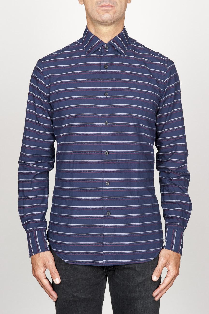 SBU 00921 Clásica camisa azul de rallas de algodón con cuello de punta  01
