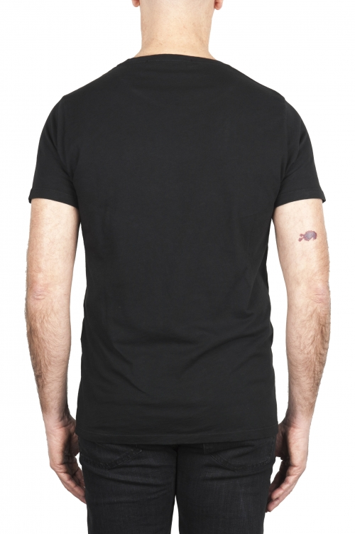 SBU 03311_2021SS T-shirt girocollo aperto in cotone fiammato nera 01