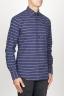 SBU 00921 Clásica camisa azul de rallas de algodón con cuello de punta  02