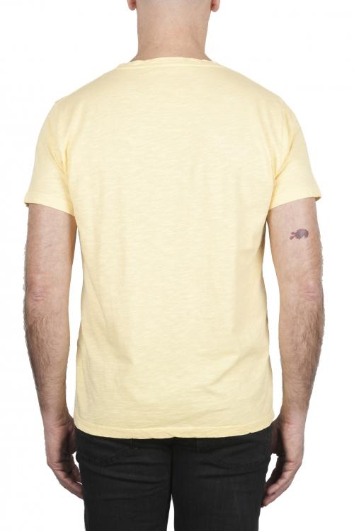 SBU 03312_2021SS T-shirt girocollo aperto in cotone fiammato gialla 01
