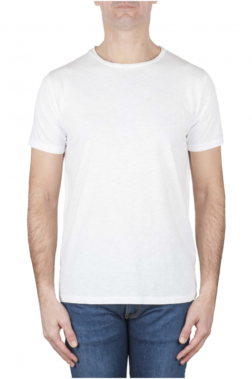 SBU 03314_2021SS T-shirt à col rond en coton flammé blanc 01