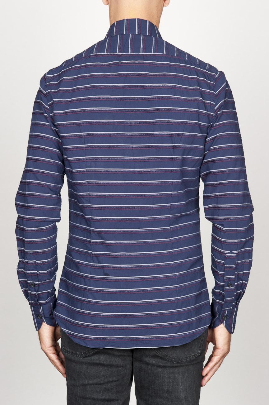 ... SBU 00921 クラシックなポイントカラーのブルーストライプのコットンシャツ 04 ...