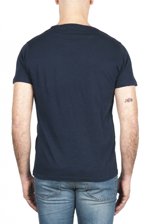 SBU 03315_2021SS T-shirt à col rond en coton flammé bleu marine 01