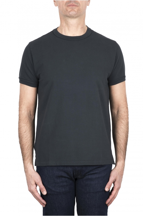SBU 03316_2021SS Camiseta clásica de piqué de algodón gris plomo 01
