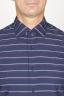 SBU 00921 クラシックなポイントカラーのブルーストライプのコットンシャツ 05