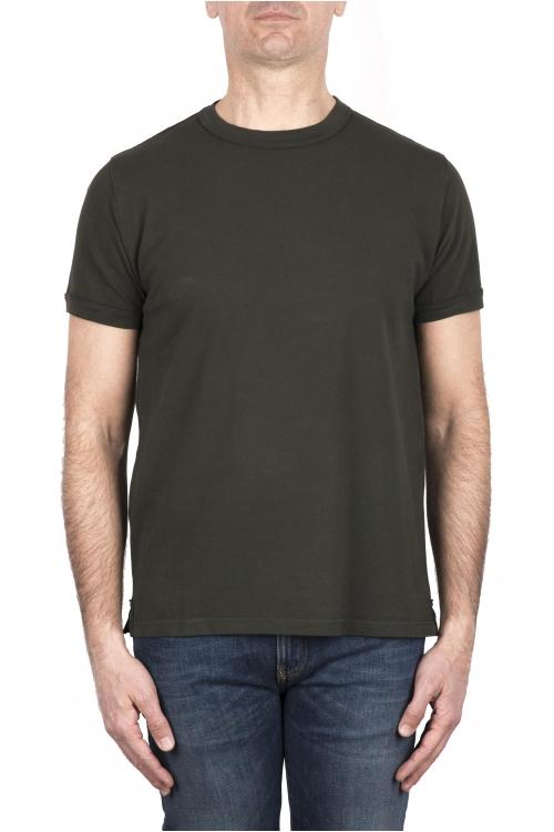 SBU 03320_2021SS T-shirt girocollo in cotone piqué verde 01