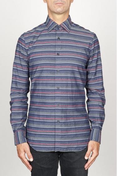 SBU 00922 Camicia classica collo a punta in cotone a righe grigia 01