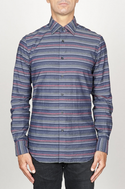 SBU 00922 Classic point collar grey striped cotton shirt 01