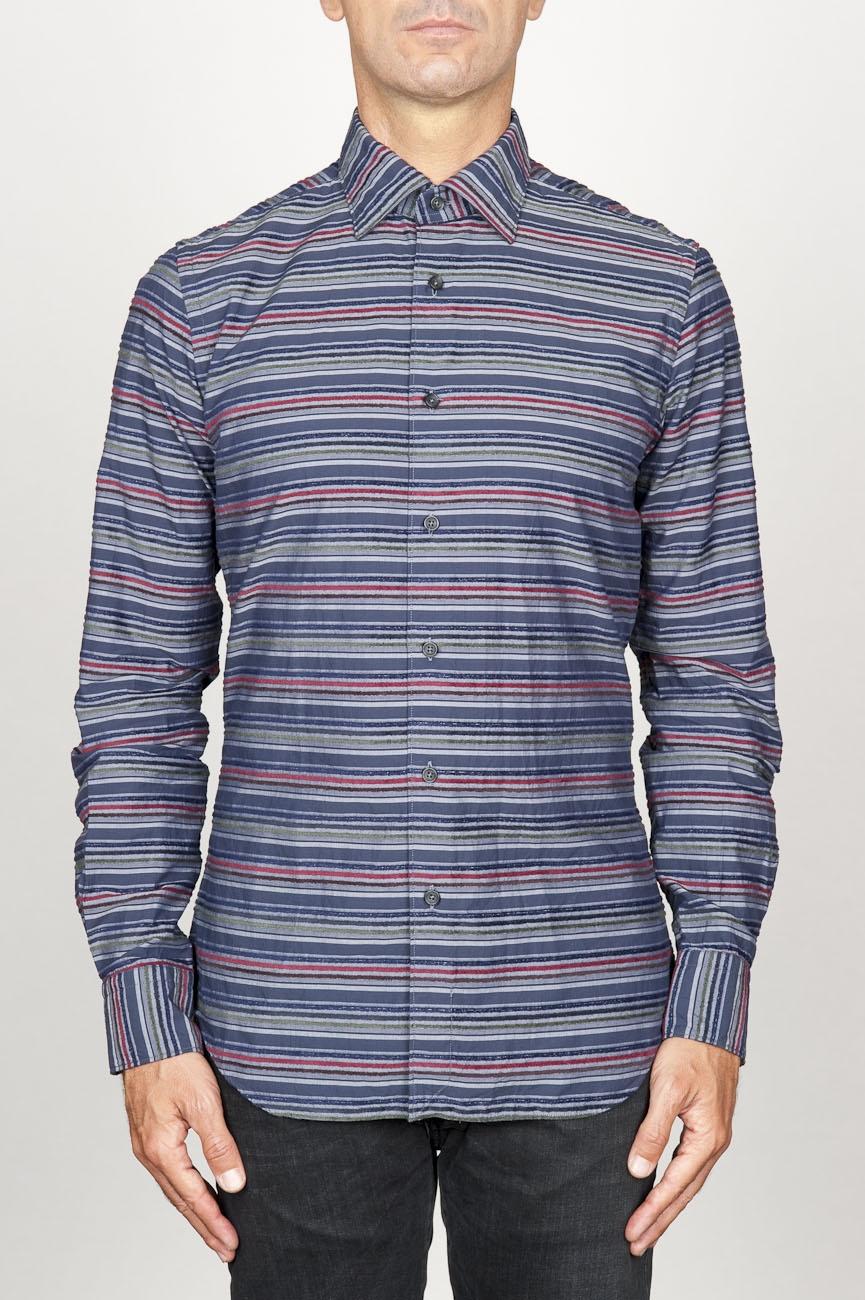 SBU 00922 Clásica camisa gris de rallas de algodón con cuello de punta  01