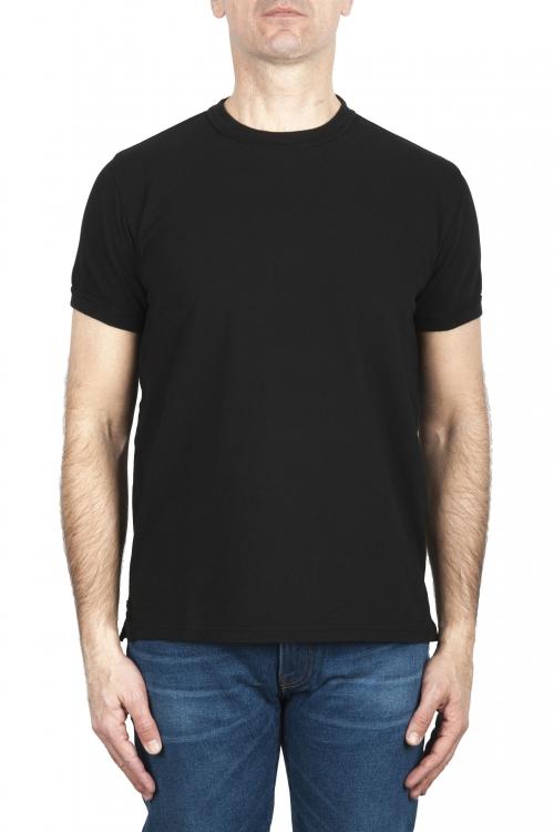 SBU 03321_2021SS T-shirt girocollo in cotone piqué nera 01