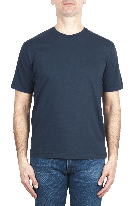 SBU 03322_2021SS Pure cotton round neck t-shirt navy blue 01