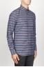 SBU 00922 Clásica camisa gris de rallas de algodón con cuello de punta  02