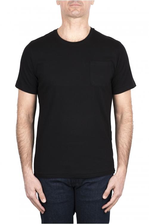 SBU 03328_2021SS Camiseta de algodón negro de cuello redondo y bolsillo de parche 01