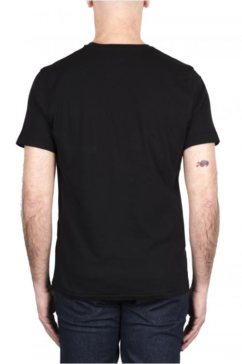 SBU 03328_2021SS T-shirt girocollo in cotone con taschino nera 01