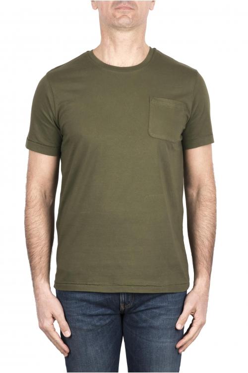 SBU 03329_2021SS T-shirt col rond en coton vert avec poche plaquée 01