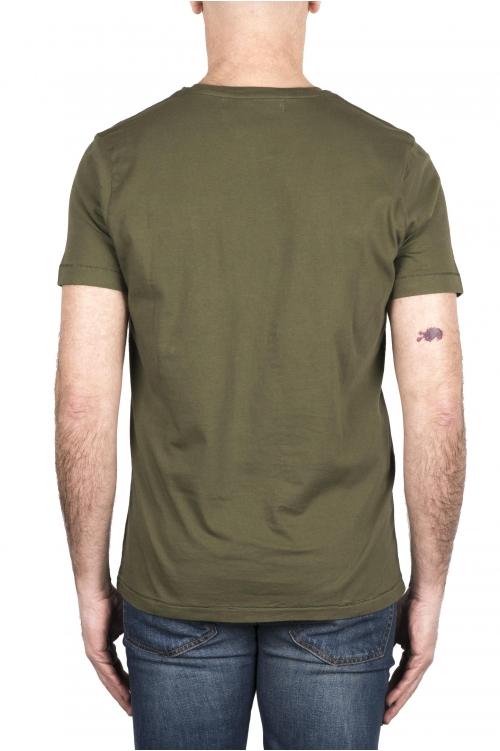 SBU 03329_2021SS Camiseta de algodón verde de cuello redondo y bolsillo de parche 01