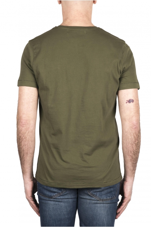SBU 03329_2021SS T-shirt girocollo in cotone con taschino verde 01