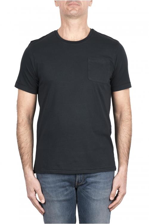 SBU 03330_2021SS Camiseta de algodón gris antracita de cuello redondo y bolsillo de parche 01