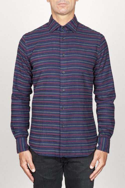 SBU 00923 Clásica camisa granate de rallas de algodón con cuello de punta  01
