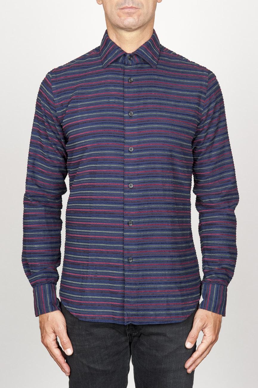 SBU 00923 Camicia classica collo a punta in cotone a righe bordeaux 01