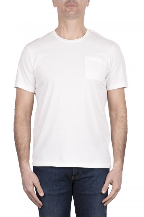 SBU 03331_2021SS Camiseta de algodón blanca de cuello redondo y bolsillo de parche 01
