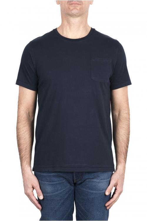 SBU 03332_2021SS Camiseta de algodón azul de cuello redondo y bolsillo de parche 01