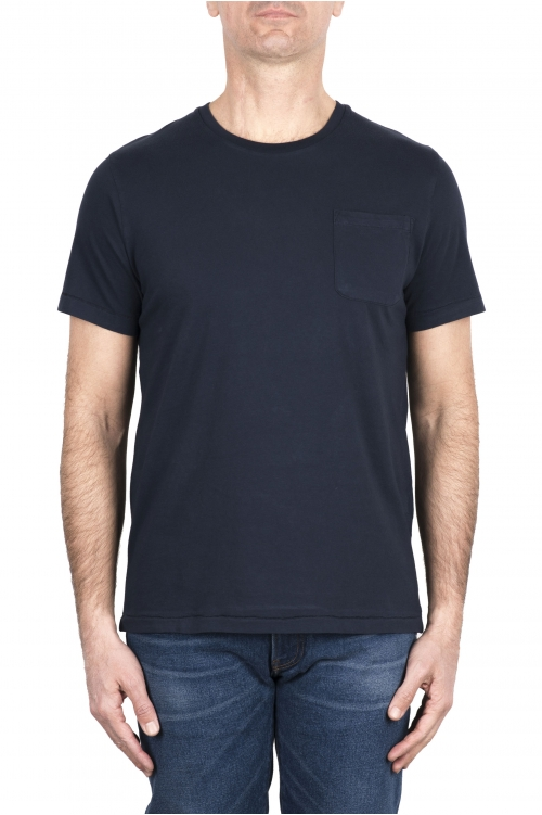 SBU 03332_2021SS T-shirt girocollo in cotone con taschino blu 01