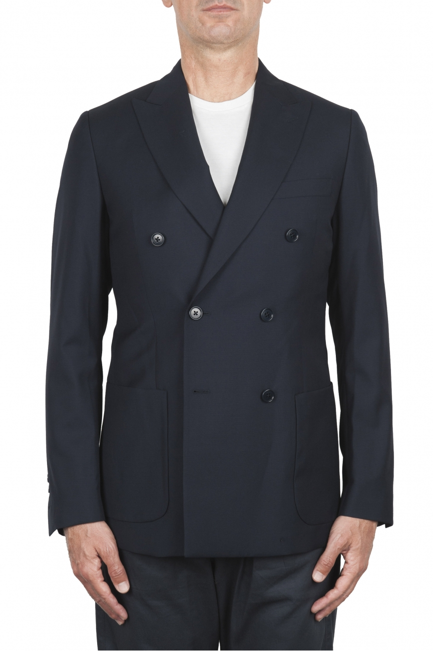 SBU 03334_2021SS Blue wool tailored double breasted jacket 01