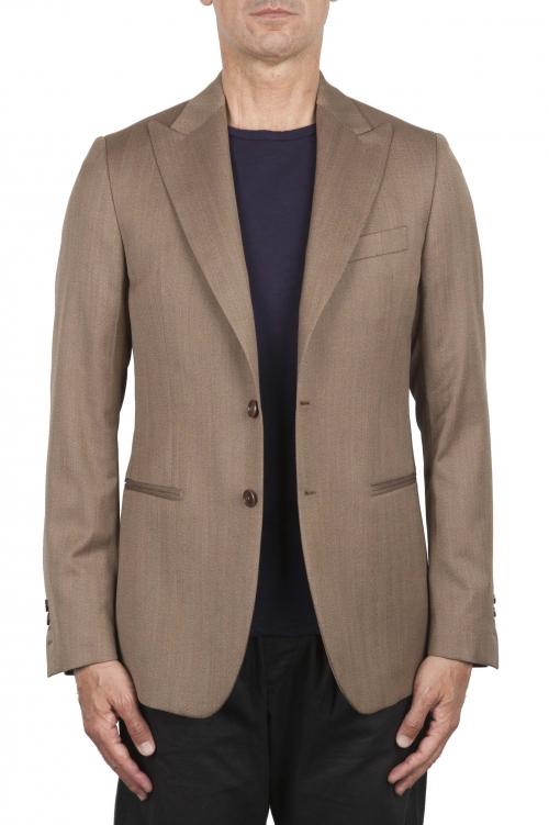 SBU 03335_2021SS Chaqueta de lana marrón a medida 01