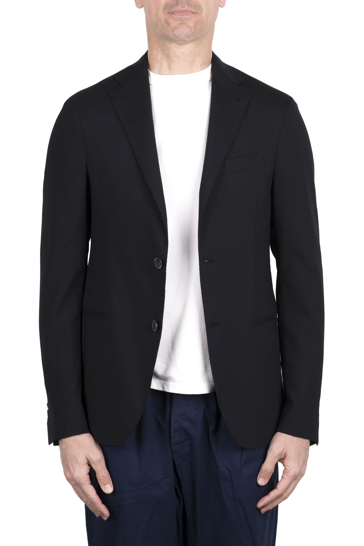 SBU 03337_2021SS Navy blue stretch wool tailored jacket 01