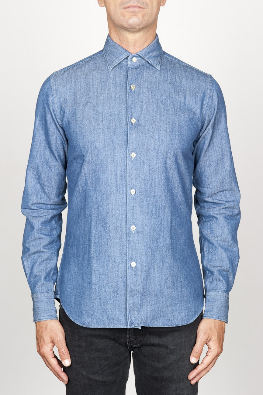 SBU 00924 クラシックなポイントの襟ナチュラルインディゴブルーのコットンシャツ 01