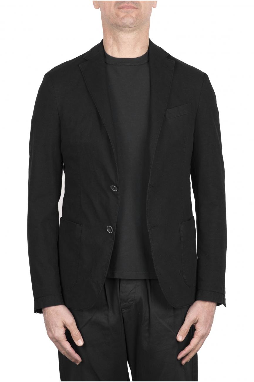 SBU 03342_2021SS Black stretch cotton tailored jacket 01
