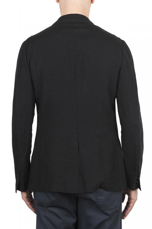 SBU 03349_2021SS Single breasted unconstructed black linen blazer 01