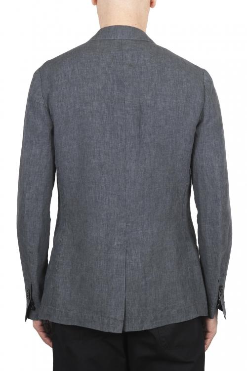 SBU 03350_2021SS Blazer en lin gris à boutonnage simple 01