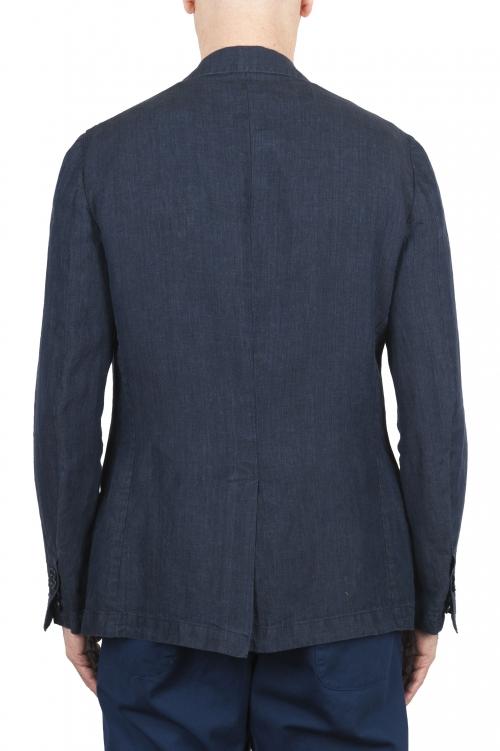 SBU 03351_2021SS Blazer en lin bleu à boutonnage simple 01