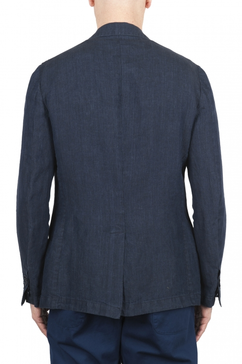 SBU 03351_2021SS Single breasted unconstructed blue linen blazer 01