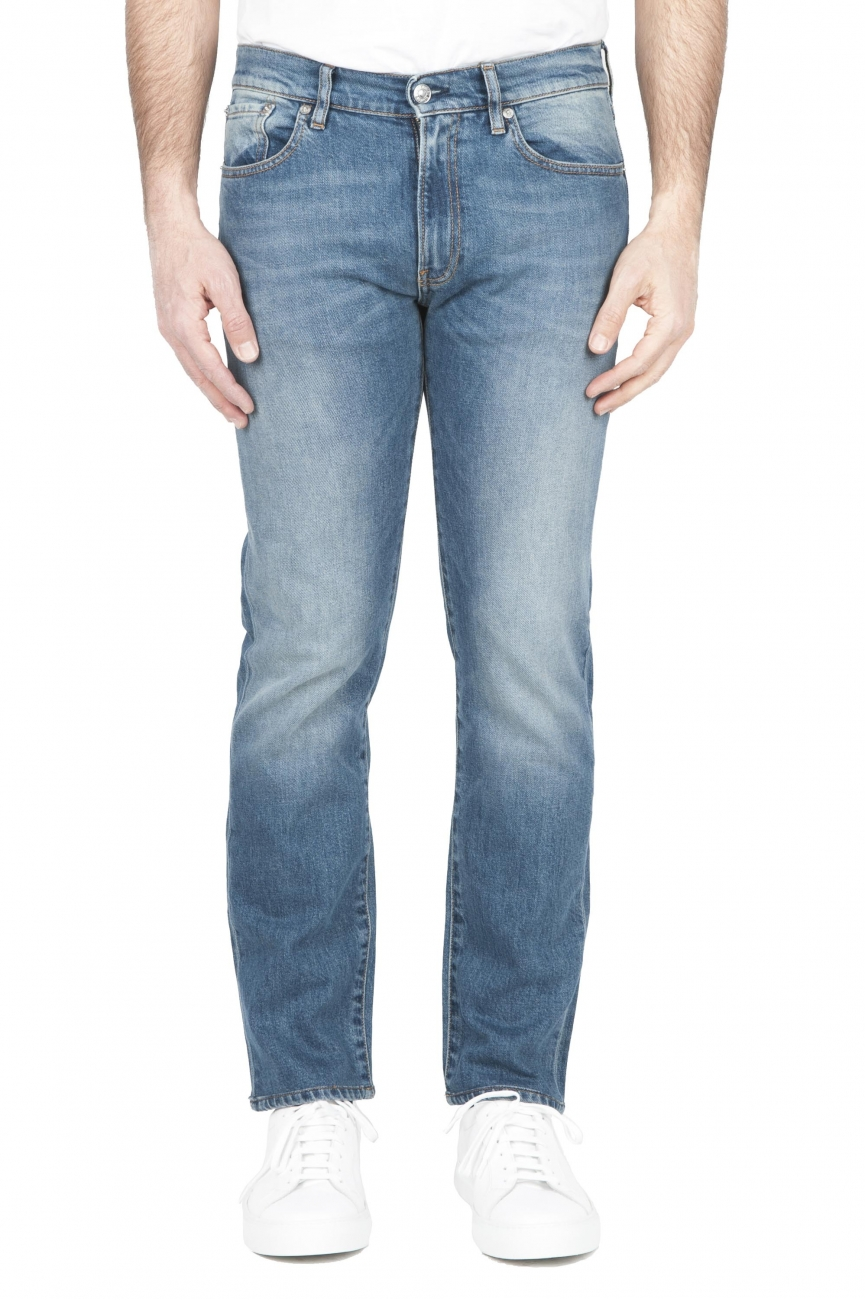 SBU 03207_2021SS Pure indigo dyed stone bleached stretch cotton blue jeans 01