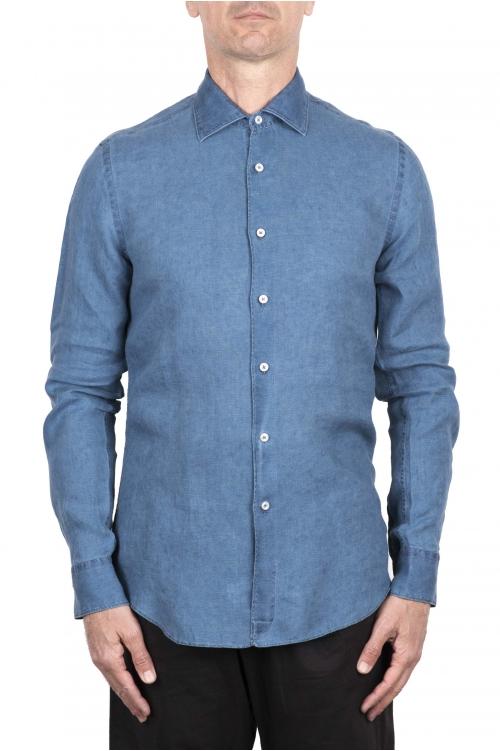 SBU 03352_2021SS Camisa clásica de lino azul índigo 01