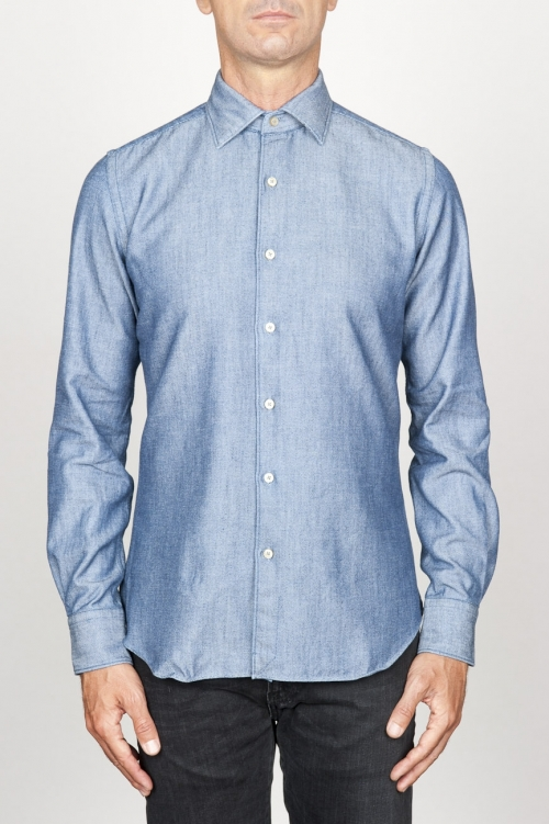 SBU 00925 Classic point collar natural light indigo blue cotton shirt 01