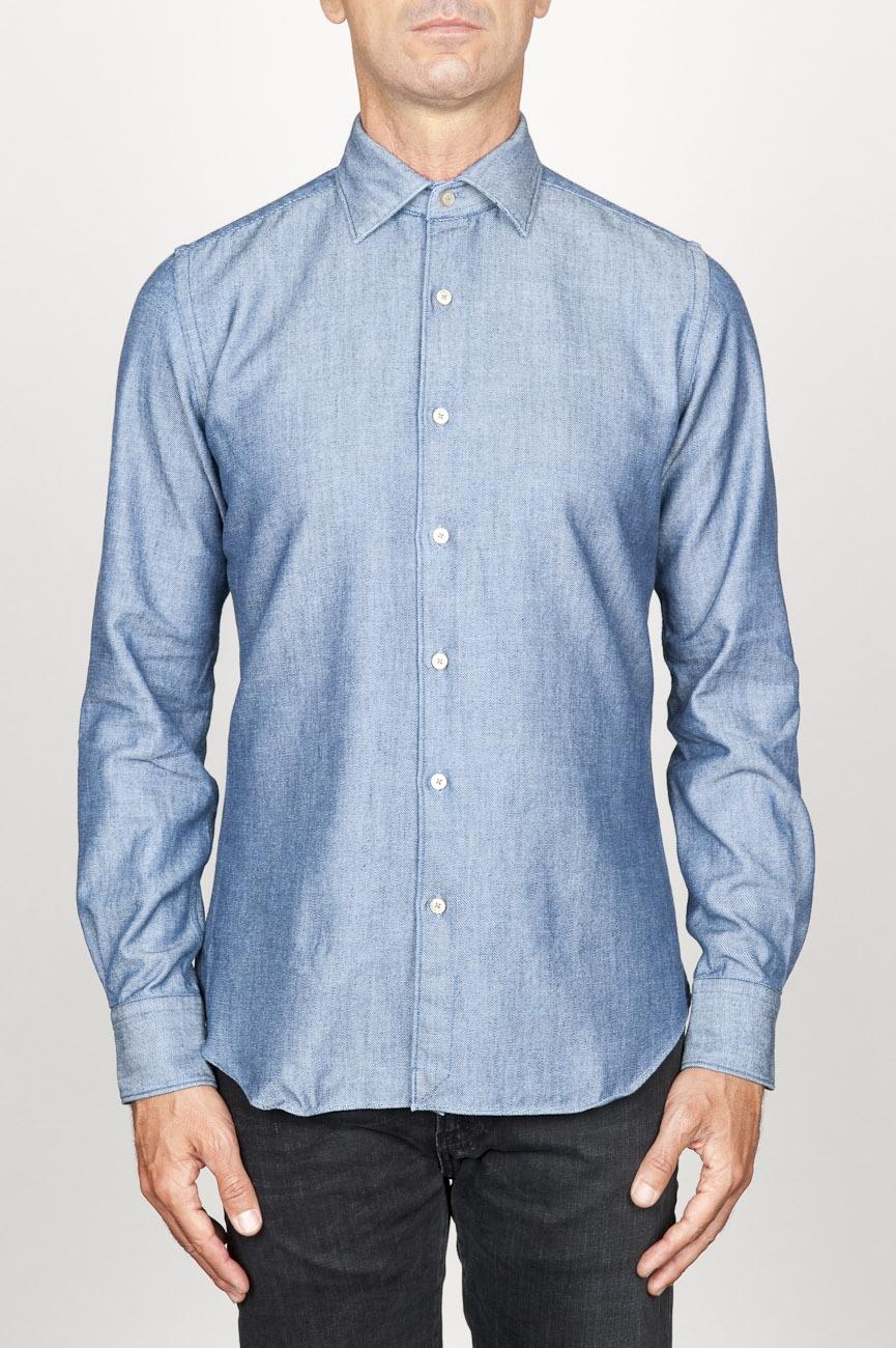 SBU 00925 Clásica camisa azul indigo claro natural de algodón con cuello de punta  01