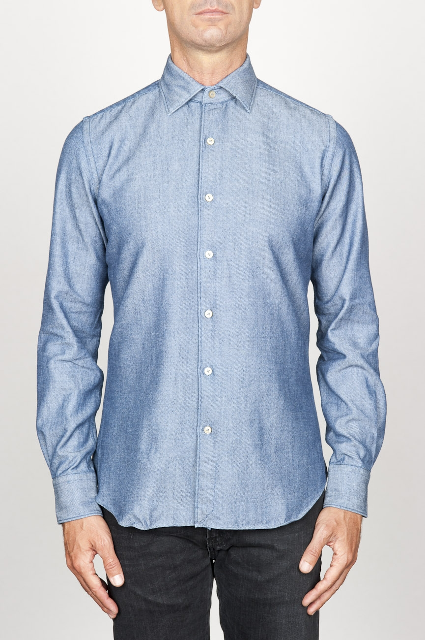 SBU 00925 Classic point collar natural light indigo blue cotton shirt 01