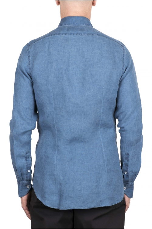 SBU 03352_2021SS Camicia classica in lino blu indaco 01