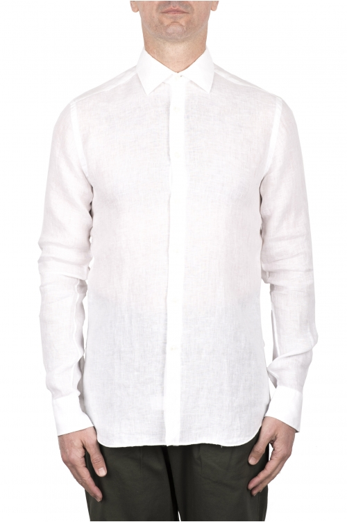 SBU 03353_2021SS クラシックな白いリネンシャツ 01