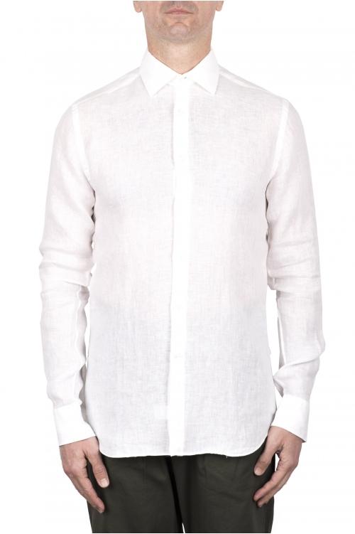 SBU 03353_2021SS Camicia classica in lino bianca 01