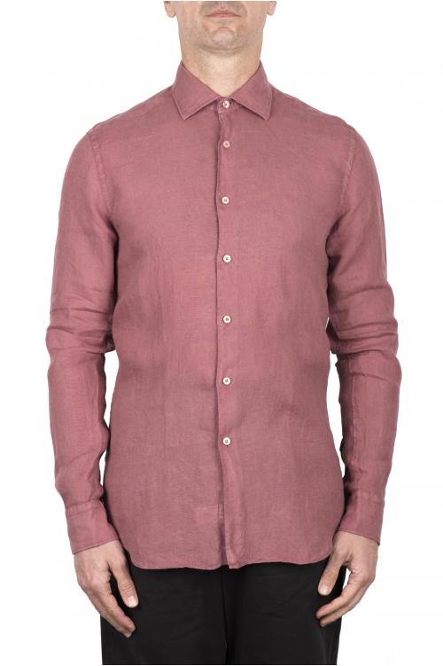 SBU 03354_2021SS Camicia classica in lino rossa 01