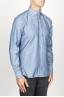 SBU 00925 古典的なポイントカラー自然光インジゴブルーの綿のシャツ 02